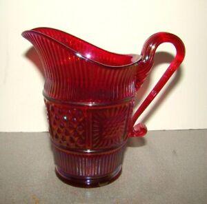 Fenton Red Iridized Carnival Glass Creamer