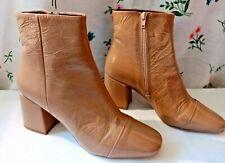 NEXT Signature Ladies Beige Patent Leather Block Heel Ankle Boots UK 8 42 BNIB
