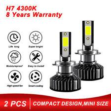 Mini Size H7 LED Headlight Bulbs Kit COB 20000LM Super Bright 4300K Fog Lamp