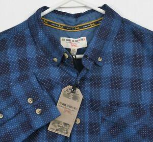 Triple Five Soul Men's Large Blue Navy Check Polka Dot Casual Button-Down Shirt