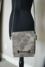 NEW Halston Heritage Silver Leather Long Chain Small HandBag Purse Clutch HRDFND