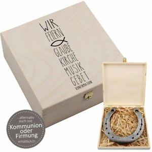 """Hufeisen-Box """"Wir feiern - Glaube, ... Konfirmation / Firmung"""" mit Gravur"""