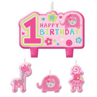 1ST BIRTHDAY GIRL PINK CAKE PICK TOPPER CANDLE CANDLES party baby pink animals