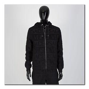VERSACE 1695$ Textural Logo Hoodie In Black Cotton