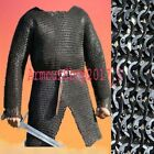 BEST Chainmail Shirt Flat Riveted with Washer Black Chain Mail Hauberk X LARGEReenactment & Reproductions - 156374