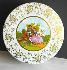 """Ornate Vintage Metal Candy Tin Courting Couple Musician 10"""" Pink Gold FREE SH"""