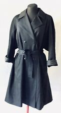 Cacharel Paris Black Wool Gabardine Double breasted Trench Coat sz 38 / 6 US