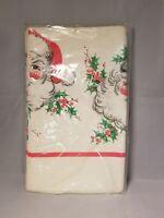 Unused Vintage Futura CA Reed Christmas Santa Paper Tablecloth Tablecover 54x88