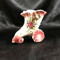 Unique Vintage Cornucopia Lotus Horn Floral Planter