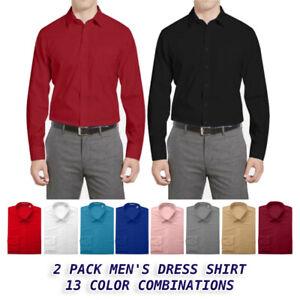 Men's Boltini Cotton Blend Regular Pocket Collared Long Sleeve Dress Shirt 2 PK