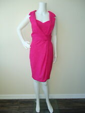 Theia Short Pink Draped Linen Cocktail Dress with Lapel