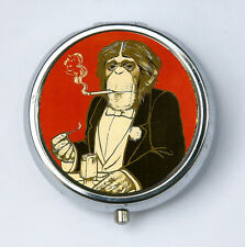 Monkey PILL CASE pillbox holder Anthropomorphic Smoking elegant regal