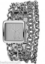 NEW-ARMANI EXCHANGE SILVER MULTI STRAND CHAIN LINK BRACELET WATCH+CRYSTAL AX3087