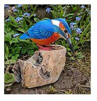 Hand Carved Wooden Painted Kingfisher & Tree Stump Garden Ornament Bird Carving