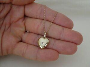 "Vintage 9CT Gold & Diamond Heart Locket Pendant 18"" Long"