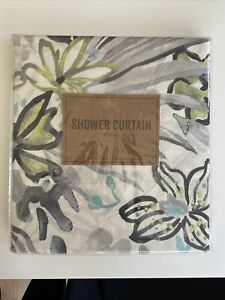NIP World Market Floral Shower Curtain Ivory With Gray, Blue And Green. CUTE!