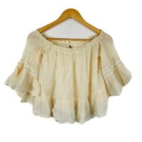 Jaase Womens Top Size XS Beige Off Shoulder Cropped Boho Style