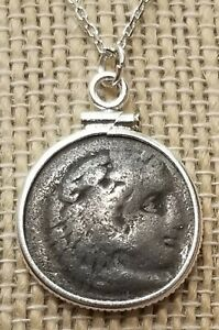 Alexander the Great Genuine Ancient Greek Drachma Coin 925 Solid Silver Necklace