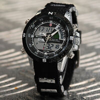 SHARK Men's Military LCD Day Date Analog Rubber Band Quartz Wrist Sport Watch
