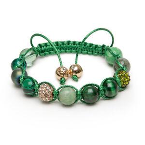 Shamballa Gemstone Bracelet Jade Green Tigers Eye Malachite Gold Pave Crystal