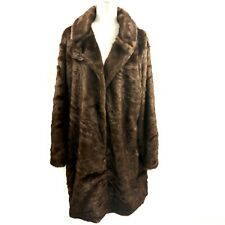 Donna Salyers Fabulous Furs Brown Copper Mink Stroller Faux Fur Coat Size XL