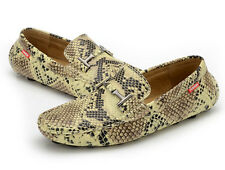Mens Slip On snakeskin pattern moccasin-gommino driving loafers Breathable Shoes