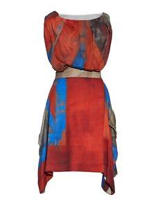 VIVIENNE WESTWOOD HEATHCOTE 44 Rare Union Jack Tailored Wool Crepe Party Dress