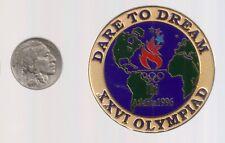 1996 Atlanta Olympic Pin Dare To Dream World Globe Large Size