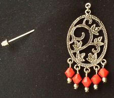 Silver Vine Design With Red Drops Brooch Stick Pin Hijaab Pin Scarf Pin