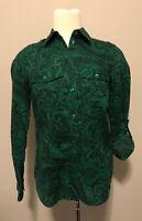 Michael Michael Kors Green Paisley Button Up Shirt, Size XS