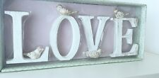 NEW WHITE WOODEN LOVE LETTER SIGN WITH BIRDS