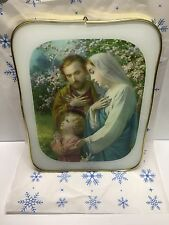 Holy Family Frame Picture Vintage Made In Italy Jesus Mary Joseph 8.5 X 11.5