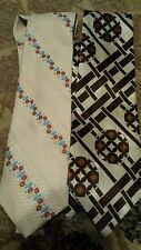 Lot of 2 Polyester Vintage Wide Necktie Ties/brown colors