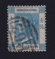 Hong Kong Sc #46 (1902) 12c blue Queen Victoria Used B62 Cancel