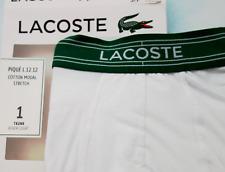 Lacoste Mens Cotton Modal Stretch Pique Trunk Boxer Court Small White