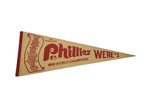 MLB Philadelphia Phillies Vintage 1980 WORLD CHAMPIONS WE'RE#1 Roster Pennant