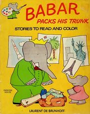 Babar Packs His Trunk Coloring Story Book Elephant Brunhoff PB (1978, Paperback)