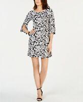 MSK Petite Floral-Print Shift Dress Black/White Size PM #129629E