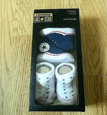 Converse All Star Crib BOOTIES Blue & White Infants Baby 0-6 Months 2 Pairs