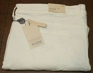 NWT NYDJ Plus Marilyn Straight Leg Ankle Denim Jean Optic White Sz 16W x 27""