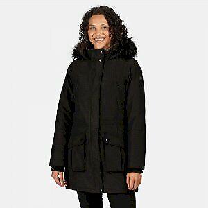 Regatta Womens Sefarina Waterproof Warm Fur Trim Hood Parka Jacket - Black