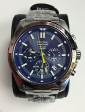 PULSAR Sport Collection Stainless Steel Blue Dial Solar Chronograph WATCH PZ5001