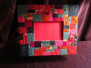CARIBBEAN CARNIVAL mosaic tiled frame, handmade 9.5x11 (4x6 opening) Lovely!