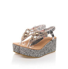 Womens Sandals Beach Shoes rhinestone Wedge High Heels Platform Flip Flops Size