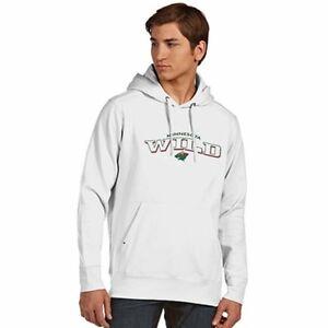 New Minnesota Wild Full Embroidery Hooded Pullover Sweatshirt Mens Medium White