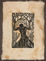 Original Woodcut Print Norse God Legend Surreal Earth Sky Woodblock Art