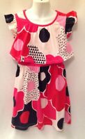TEA COLLECTION Red Pink Black White Floral Dress Girl's Sz 7 Ruffle Cap Sleeves