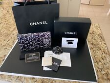 Chanel Wallet on chain - blue and grey patent calfskin with ruthenium hardware