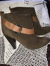 Guess Womens Ankle High Heel Boots Size 8 Dark Brown Leather EUC