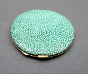 Vintage 1930s Green Shagreen Leather & Brass Powder Compact